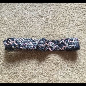 Multicolored Woven Ribbon Belt